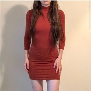 Forever 21 Mock Neck Bodycon stretchy Dress K